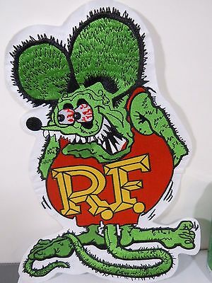 """Large RAT FINK R.F. Iconic Embroidered Iron-On Patch - 12"""""""