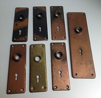 Lot of 7, Antique Vintage Architectural Salvage Door Knob Backplates