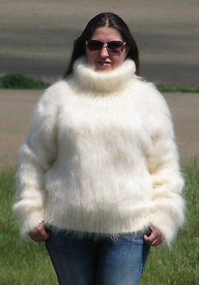 MOHAIR Hand Knitted CREAM Sweater Turtleneck Fluffy Pullover Unisex Soft Fuzzy