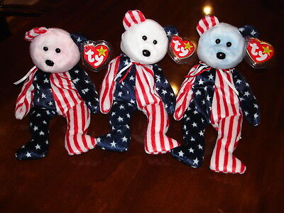 Ty Beanie Baby Spangle Blue, Red, & White MWMT w/Tag protectors