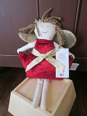 2015 RED VELVET wtih Gold Bow  Small ANGEL Woof & Poof  New with Tag Christmas