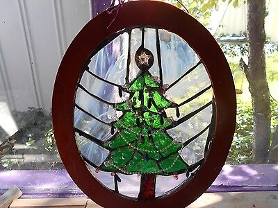 Stained Glass Window Panel Suncatcher  Art  Jeweled Christmas Tree