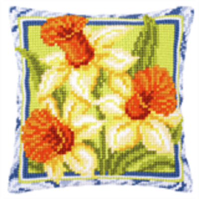 Daffodil - Large Holed Printed Tapestry Canvas Cushion Kit -Chunky Cross Stitch