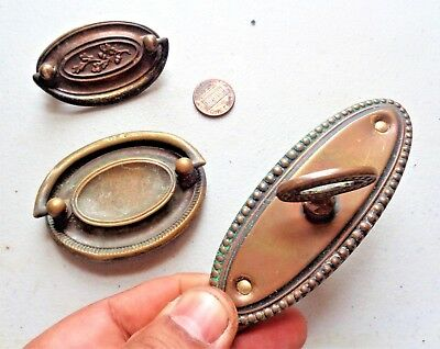 3 Assorted Ornate Vintage Brass Cabinet Knobs Drawer Pulls Salvage Hardware