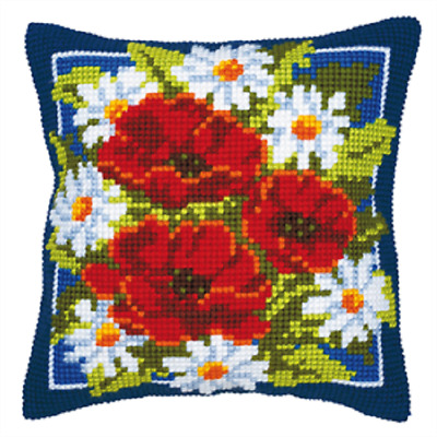 Poppies - Large Holed Printed Tapestry Canvas Cushion Kit -Chunky Cross Stitch