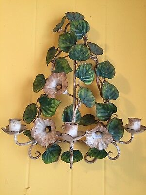 Vintage Italian Metal Wall Sconce Vining Morning Glories Holds 3 Candles