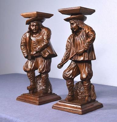 "*15"" Pair of French Antique Hand Carved Breton Chestnut Figures"
