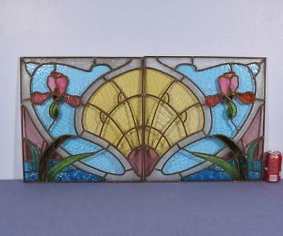 *Antique Pair of French Stained Glass and Copper Panels w/Art Nouveau Flowers