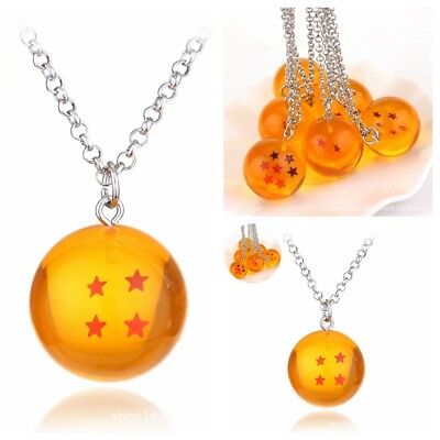 1PC Cosplay Crystal Ball Necklace Dragon Ball Z DBZ Pendant 4 Star Accessories