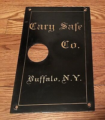 Beautiful Antique Cary Safe Co. Inside Door Plate Panel Man Cave Sign
