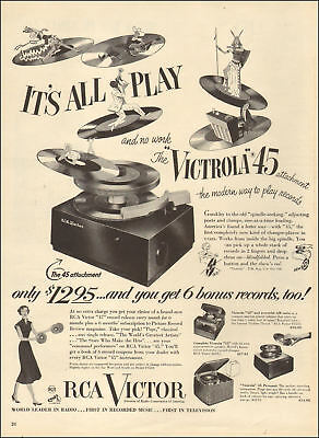 1950 vintage AD RCA VICTOR VICTROLA 45 , Record Player stacks of 45 rpm 103017