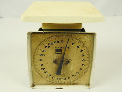 Vintage Hanson Off White Heavy Metal Made in USA Household Kitchen Scale 25 lbs