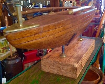 Antique Vintage Mahogany Wood Sail Boat Ship Hull w/Oars on Wood Stand