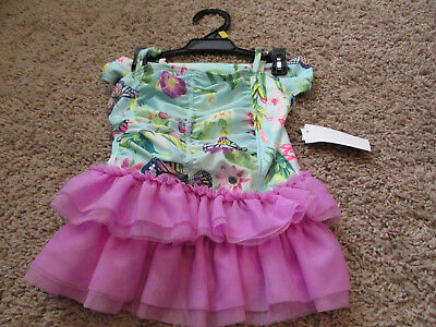 Joe Boxer Toddler Girls Bathing Suit Size 18 months purple  butterflies tutu