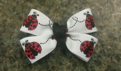 LOT of 2 Little lady bug black red white hairbow girl alligator clip