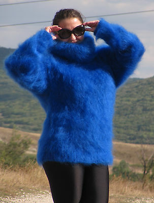 MOHAIR Hand Knitted ROYAL BLUE Sweater Turtleneck Fuzzy Pullover Unisex Soft