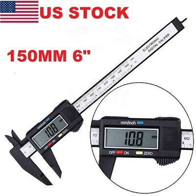 "150MM 6"" LCD Digital Vernier Caliper Electronic Carbon Fiber Gauge Micrometer BJ"