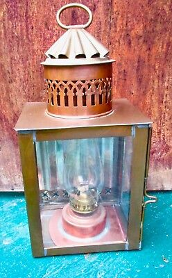 Vintage Nautical Marine SHIP Lantern w/ Brass Oil Kerosene Lamp. Made in England