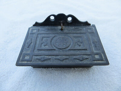 Antique Cast Iron Wall Mount Match Holder With Lid Euc