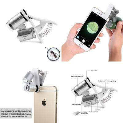 Cell Phone Microscope 60X Optical Zoom Magnifier Clip On Smartphone Camera Lens