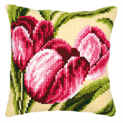 Tulips - Large Holed Printed Tapestry Canvas Cushion Kit Chunky Cross Stitch