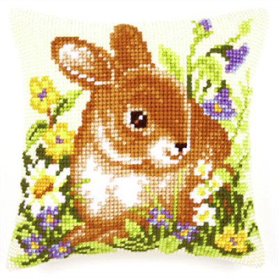 Bunny  - Large Holed Printed Tapestry Canvas Cushion Kit Chunky Cross Stitch