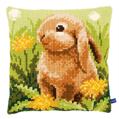 Little Hare -Large Holed Printed Tapestry Canvas Cushion Kit Chunky Cross Stitch
