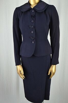 CLASSIC Vintage 40's Navy Skirt Suit S TOWNLEY Charming Detailed Jacket