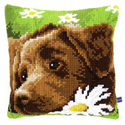 Chocolate Labrador  Large Holed Printed Tapestry Canvas Cushion Kit/Cross Stitch