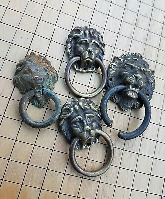 Vintage BRASS LION Head Drawer Pull LOT of 4 Cast OLD USA Hardware