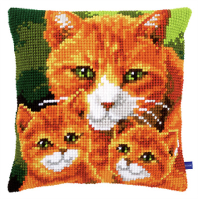 Cat Family  Large Holed Printed Tapestry Canvas Cushion Kit/Cross Stitch