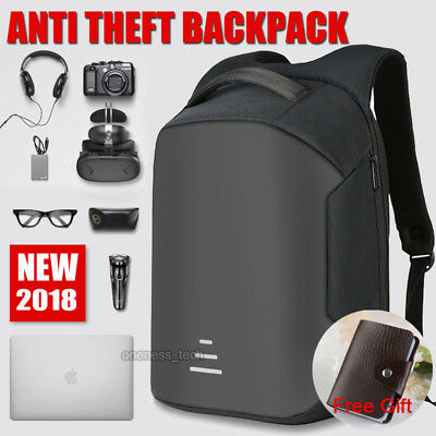 Anti-theft Waterproof Backpack USB Port School Laptop Travel Shoulder Bag AU
