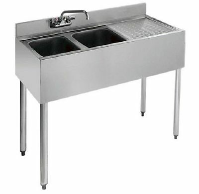 """Stainless Steel Two Compartment Under-Bar Sink 36"""" x 18"""" Right Drainboard"""