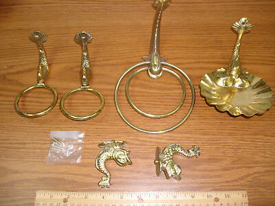 Vintage Brass Chinese Dragon KOI Fish Dolphin Towel Cup Shelf Bracket Holder Set