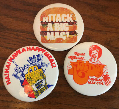 Set of 3 Vintage McDonald's Button's Attack a Big Mac Kids Day Have a Happy Meal