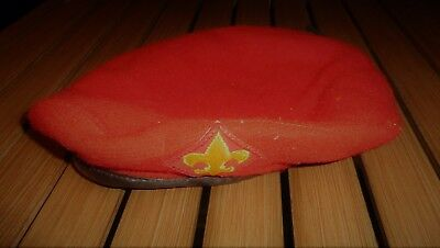Vintage BSA Boy Scouts of America Wool Red Beret Cap - Size Large 7 1/3 - 7 1/4