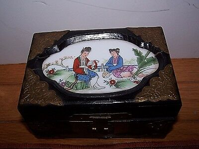 Vintage Asian Black Lacquer Wood Hand Painted Porcelain Inset Brass Trim & Hinge