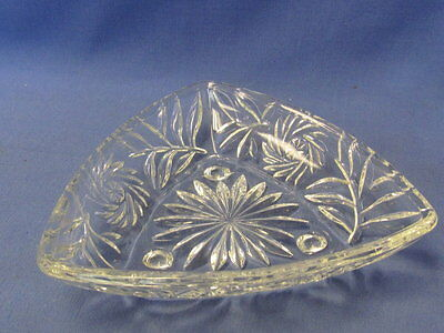 Vintage Triangular Pressed Glass Candy Dish