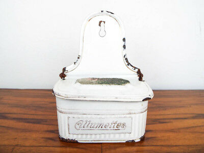 Antique French White Enamel Match Safe Holder Wall Mount Allumettes Enamelware