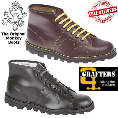 The Original Monkey Boots Grafter Mens Womens Unisex skinhead ska Retro Leather