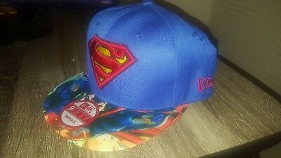 cheap for discount c3f8a 264af Dc Comics Black Superman Sublimated Bill Snapback Red Logo Hat Cap Action  Pose