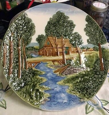"Rare Vintage OLD CASTLE FRENCH-ZONE Relief Plate Made in Germany 13 1/4"" LARGE!"