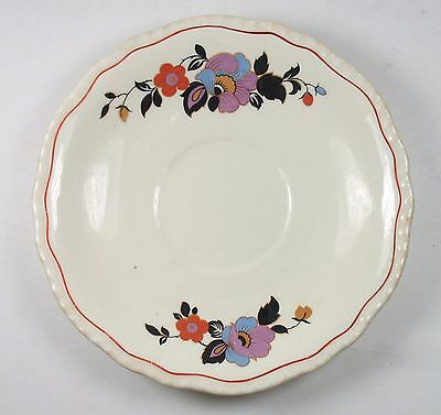 """Vintage STEUBENVILLE """" Ivory """" SAUCER with Beautiful & Colorful Floral Design"""