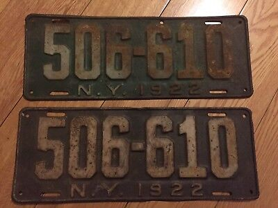 1922 New York License Plates Matched Pair