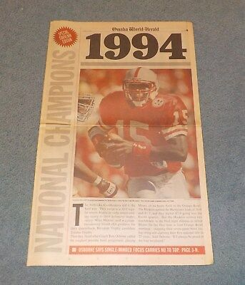 Nebraska Huskers 1994 National Championship Newspaper Omaha World Herald Osborne