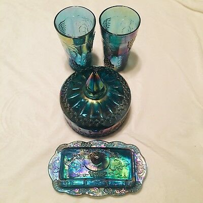 Vintage Indiana Glass Iridescent Blue Carnival Glass Dish Lot Butter, Candy