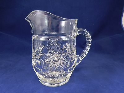 "Anchor Hocking  EAPC Glass Pitcher~Star of David~ 5 1/4"" Tall~Approx 16 oz~VGUC"