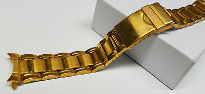 22mm VINTAGE SPEIDEL STAINLESS STEEL GOLD TONE WATCH BAND CURVED>NEW OLD STOCK<