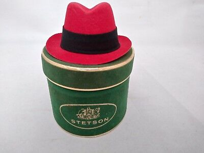 "STETSON Hats Purchase Certificate ""Salesman Sample"" Red Felt Fedora Hat in Box"