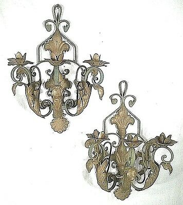 "Oversize Pair Of 24"" High Mid Century Wrought Iron  3 Arm Painted Candle Sconces"